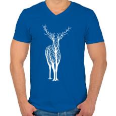 PRINTFASHION Élővilág - Férfi V-nyakú póló - Királykék