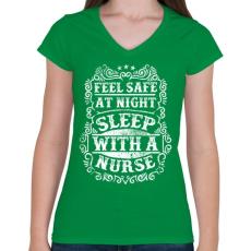 PRINTFASHION Érezd magad biztonságban éjszaka, aludj nővérrel!  - Női V-nyakú póló - Zöld