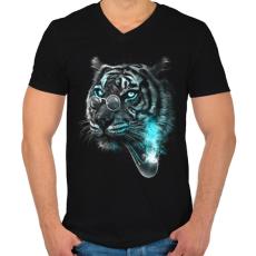 PRINTFASHION Értelmiségi tigris - Férfi V-nyakú póló - Fekete
