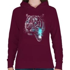 PRINTFASHION Értelmiségi tigris - Női kapucnis pulóver - Bordó
