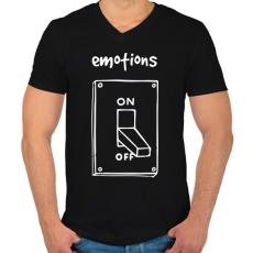 PRINTFASHION Érzelmek Be-Ki - Férfi V-nyakú póló - Fekete