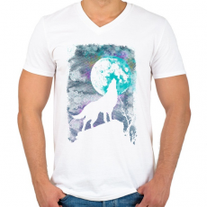PRINTFASHION Farkas holdfényben - Férfi V-nyakú póló - Fehér
