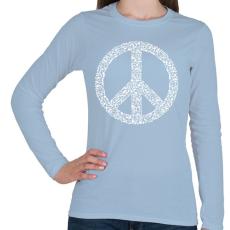 PRINTFASHION Fegyver béke - Női hosszú ujjú póló - Világoskék