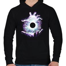 PRINTFASHION Fekete lyuk - Férfi kapucnis pulóver - Fekete