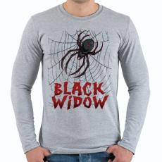 PRINTFASHION Fekete özvegy - Férfi hosszú ujjú póló - Sport szürke
