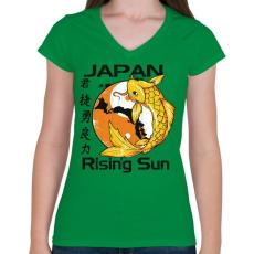 PRINTFASHION Felkelő nap - Női V-nyakú póló - Zöld