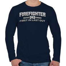 PRINTFASHION First in Last out never forget 343 - Férfi hosszú ujjú póló - Sötétkék