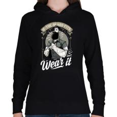 PRINTFASHION Fitt szakáll - Női kapucnis pulóver - Fekete