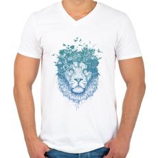 PRINTFASHION Floral lion - Férfi V-nyakú póló - Fehér