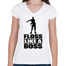 PRINTFASHION Floss Like A Boss - Női V-nyakú póló - Fehér
