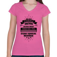 PRINTFASHION Fodrász vagyok - Női V-nyakú póló - Rózsaszín