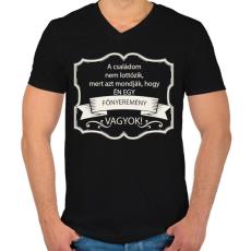 PRINTFASHION Főnyeremény - Férfi V-nyakú póló - Fekete