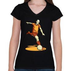 PRINTFASHION Football  - Női V-nyakú póló - Fekete