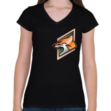 PRINTFASHION Fox - Női V-nyakú póló - Fekete