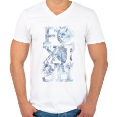 PRINTFASHION Foxish - Férfi V-nyakú póló - Fehér