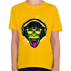 PRINTFASHION Funky majom - Gyerek póló - Sárga