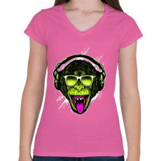 PRINTFASHION Funky majom - Női V-nyakú póló - Rózsaszín