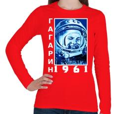 PRINTFASHION Gagarin 1961 Cirill - Női hosszú ujjú póló - Piros