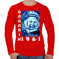 PRINTFASHION Gagarin 1961 - Férfi hosszú ujjú póló - Piros