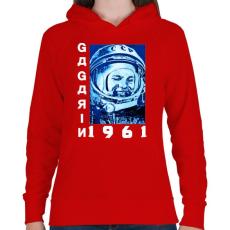 PRINTFASHION Gagarin 1961 - Női kapucnis pulóver - Piros
