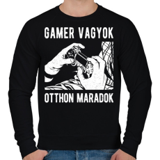 PRINTFASHION Gamer vagyok, otthon maradok - Férfi pulóver - Fekete
