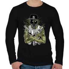 PRINTFASHION Gangsta Zombie - Férfi hosszú ujjú póló - Fekete