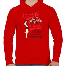 PRINTFASHION Garázs csaj - Férfi kapucnis pulóver - Piros