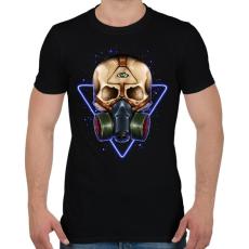 PRINTFASHION Gázmaszkos koponya - Férfi póló - Fekete