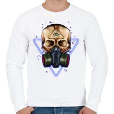 PRINTFASHION Gázmaszkos koponya - Férfi pulóver - Fehér