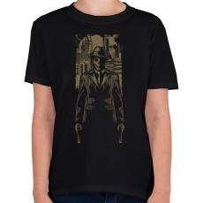PRINTFASHION Gengszter koponya - Gyerek póló - Fekete