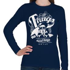 PRINTFASHION Gengszterek - Női hosszú ujjú póló - Sötétkék