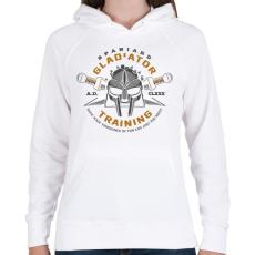 PRINTFASHION Gladiator Training - Női kapucnis pulóver - Fehér