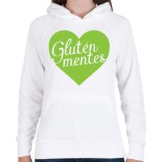 PRINTFASHION gluten-free-love-green - Női kapucnis pulóver - Fehér