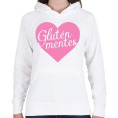 PRINTFASHION gluten-free-love-pink - Női kapucnis pulóver - Fehér