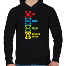 PRINTFASHION Go super saiyan - Férfi kapucnis pulóver - Fekete