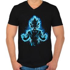 PRINTFASHION God Vegeta - Férfi V-nyakú póló - Fekete
