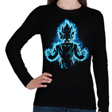 PRINTFASHION God Vegeta - Női hosszú ujjú póló - Fekete