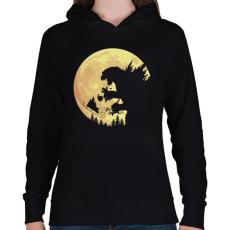 PRINTFASHION Godzilla karácsonya - Női kapucnis pulóver - Fekete
