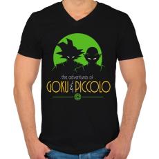PRINTFASHION Goku és Piccolo - Férfi V-nyakú póló - Fekete