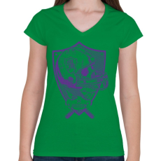 PRINTFASHION Gonosz sportgép - Női V-nyakú póló - Zöld