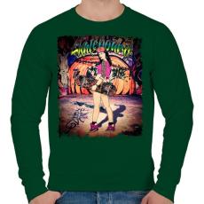 PRINTFASHION Gördeszkás lány - Férfi pulóver - Sötétzöld