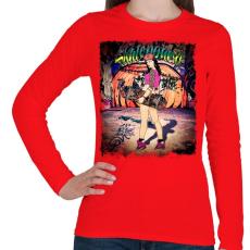 PRINTFASHION Gördeszkás lány - Női hosszú ujjú póló - Piros