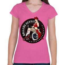 PRINTFASHION Görkorcsolyás ördögök - Női V-nyakú póló - Rózsaszín