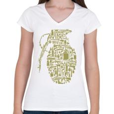 PRINTFASHION Gránát - Női V-nyakú póló - Fehér