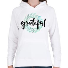 PRINTFASHION Grateful - Női kapucnis pulóver - Fehér