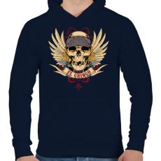 PRINTFASHION Gringo koponya - Férfi kapucnis pulóver - Sötétkék