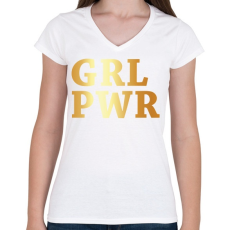 PRINTFASHION GRL PWR - Női V-nyakú póló - Fehér