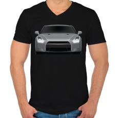 PRINTFASHION GTR - Férfi V-nyakú póló - Fekete