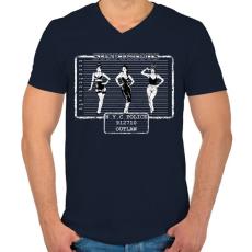 PRINTFASHION Gyanús - Férfi V-nyakú póló - Sötétkék