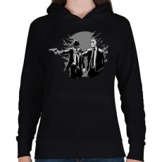 PRINTFASHION Gyilkos páros - Női kapucnis pulóver - Fekete